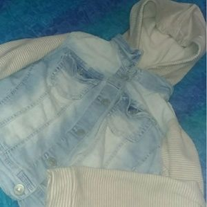 Comfy Aesthetic Denim and Striped Cloth Jacket